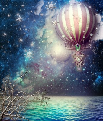 Bild Hot Feuer Ballon in den Sternenhimmel