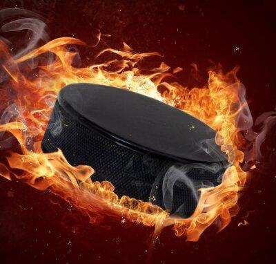 Bild Hot Hockey Puck in Feuer Flamme