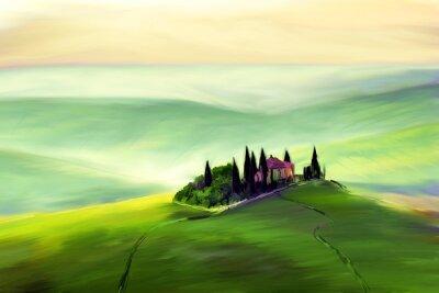 Bild House on a beautiful hill drawing.