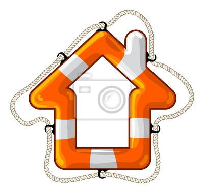 House vector isolated lifebuoy