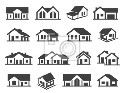Bild Houses exterior black glyph vector icons set