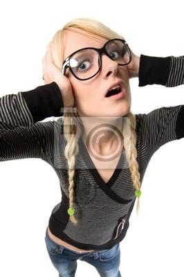 Nerdy Mädchen Brille Blondine