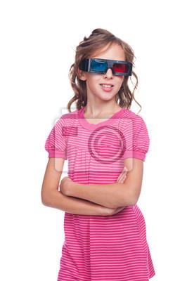 Hübsche Mädchen 10 Jahre In Stereo Brille Leinwandbilder Bilder