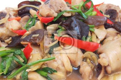 Bild Huhn gebraten mit Ingwer und jew Ohr Pilz