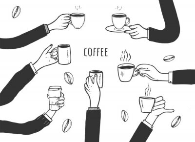 Bild Human hands with cups of coffee set
