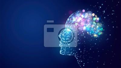 Bild Human head with a luminous brain network, consciousness, artificial intelligence