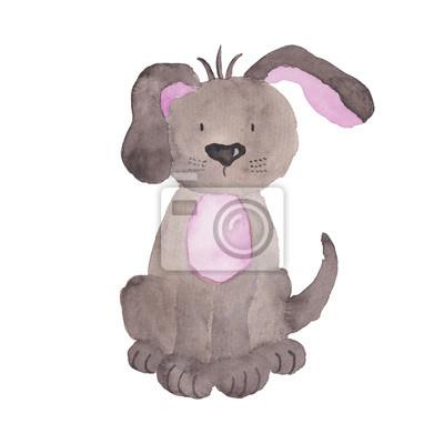 Bild Hund Aquarell Illustration Pet Clipart Handgemalte Tier