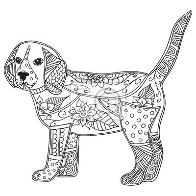 Bild Hund Erwachsenen Antistress Oder Kinder Malvorlage Seite