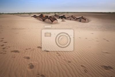 Hütte in der Wüste Sahara.