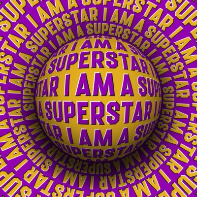 I Am A Superstar patterned sphere rolling on rotating surface. Abstract vector optical illusion concept.