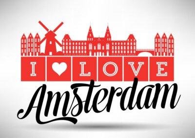 Bild I Love Amsterdam Skyline Design