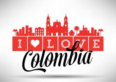 Bild I Love Colombia Skyline Design