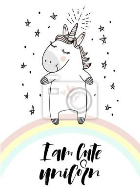 Ich Bin Susse Einhorn Typografie Und Einhorn Auf Dem Regenbogen