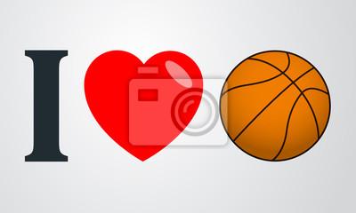 Ich liebe baloncesto Farbe en fondo degradado