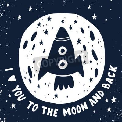 Bild Ich liebe dich bis zum Mond und zurück. Hand gezeichnetes Plakat mit einem romantischen Zitat. Diese Abbildung kann für einen Valentinstag verwendet werden oder speichern Sie die Datumskarte oder druc
