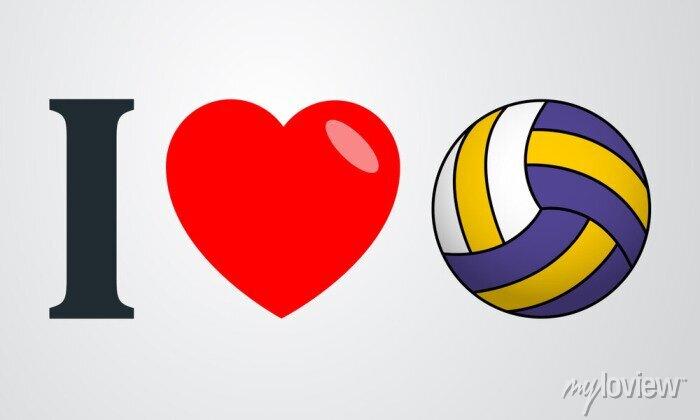 Bild Ich liebe voleibol Farbe en fondo degradado