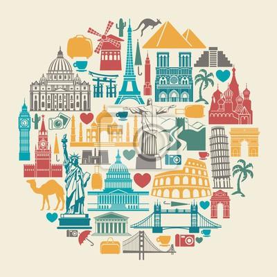Icon Baudenkmäler der Welt in der Form eines Kreises