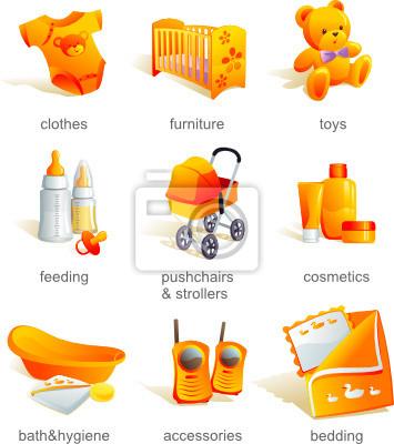 Icon Set Baby Katalog Waren Produkte Vektor Illustration