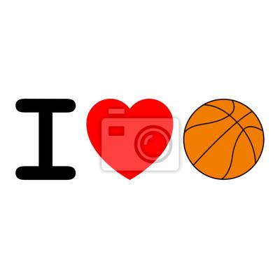 Icono aislado Ich liebe baloncesto