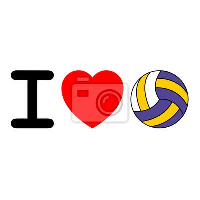 Icono aislado Ich liebe voleibol