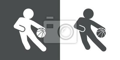 Icono plank jugador von baloncesto gris und blanco