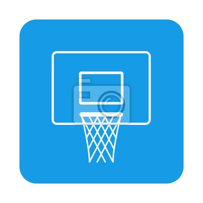 Icono plano canasta baloncesto en cuadrado azul