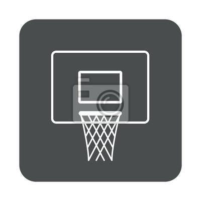 Icono plano canasta baloncesto en cuadrado gris