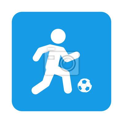 Icono plano futbolista und cuadrado azul