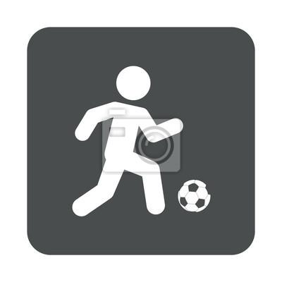 Icono plano futbolista und cuadrado gris