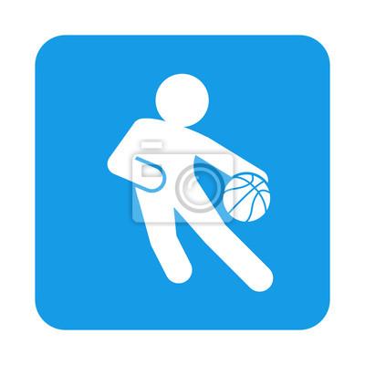Icono plano jugador baloncesto en cuadrado azul