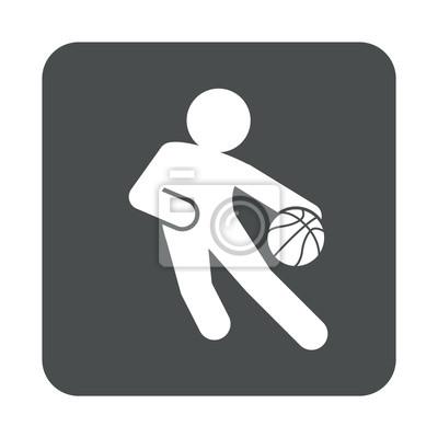 Icono plano jugador baloncesto en cuadrado gris