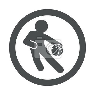 Icono plano jugador baloncesto und circulo Farbe gris