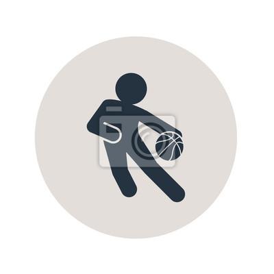 Icono plano jugador de baloncesto en circulo gris