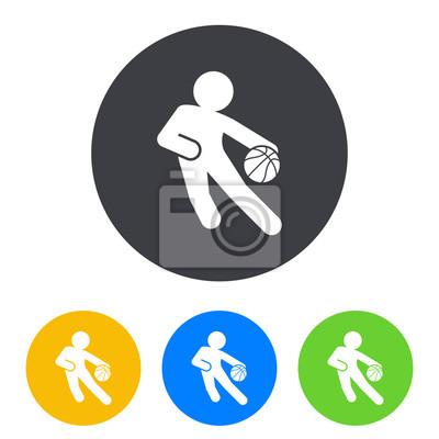 Icono plano jugador de baloncesto en circulo varios colores