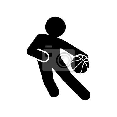 Icono plano jugador von baloncesto negro sobre fondo blanco
