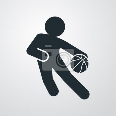Icono plano jugador von baloncesto sobre fondo degradado