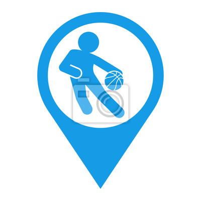 Icono plano localizacion jugador baloncesto azul