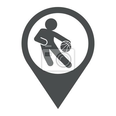 Icono plano localizacion jugador baloncesto gris