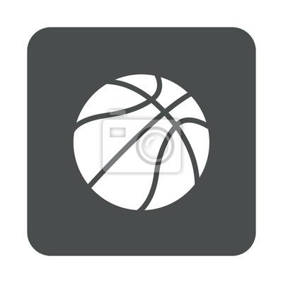 Icono plano pelota baloncesto en cuadrado gris