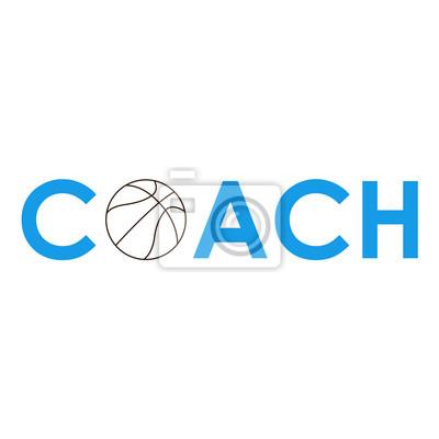 Icono plano texto COACH baloncesto azul #2