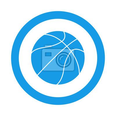 Icono redondo balon de Baloncesto azul