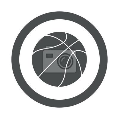 Icono redondo balon de Baloncesto gris