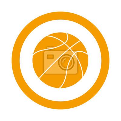 Icono redondo balon de Baloncesto naranja