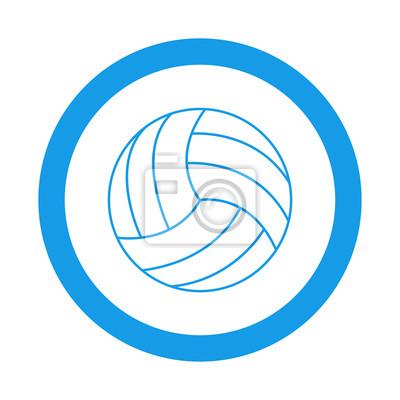Icono redondo balon de voleibol azul