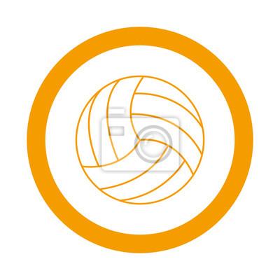 Icono redondo balon de voleibol naranja