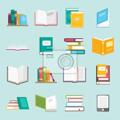 Bild Icons of Bücher Vektor in einem flachen Stil gesetzt