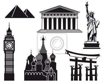 Icons von Sehenswürdigkeiten in den verschiedenen Ländern der Welt