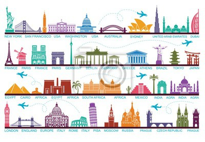 Icons Welt Touristenattraktionen. Die Symbole reisen um die Welt. Wahrzeichen und Sehenswürdigkeiten