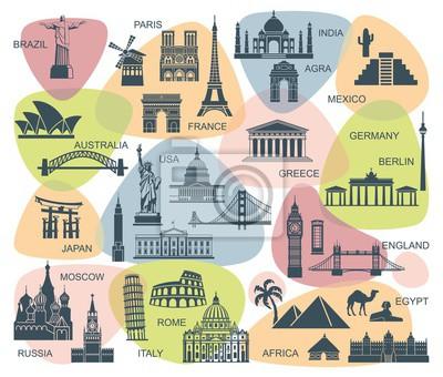 Icons Welt touristischen Attraktionen