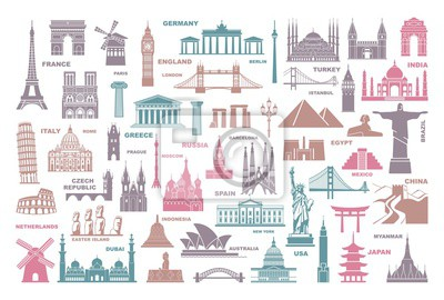 Icons world tourist attractions and architectural landmarks